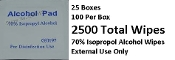 Alcohol (70% Isopropol) Packets - 25/Box - 100/Box = 2500 Pads
