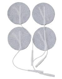 "1.25"" Round Electrodes, Tan or White Cloth, Carbon Film, Latex Free, Hypoallergenic, 4/Pack"