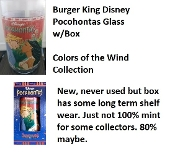 Burger King 1994 Disney Pocahontas Colors of the Wind Glass